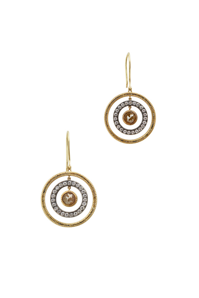 18K Yellow Gold Diamond Circle Drop Earrings