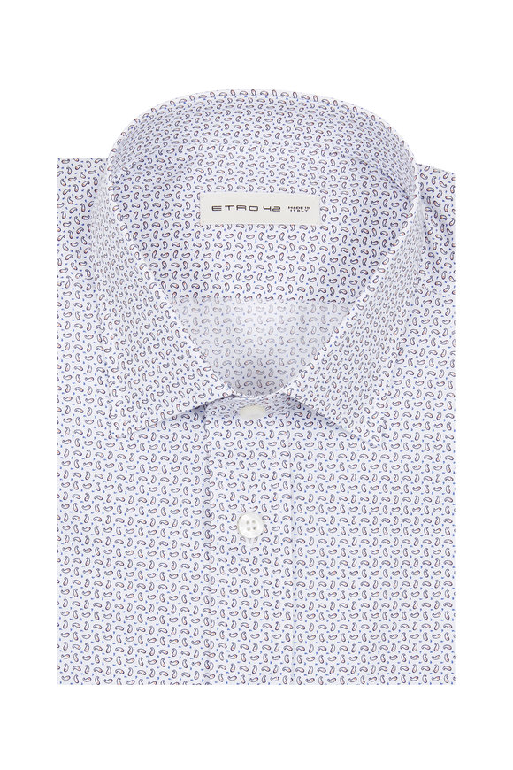 Etro Gray Paisley Printed Sport Shirt