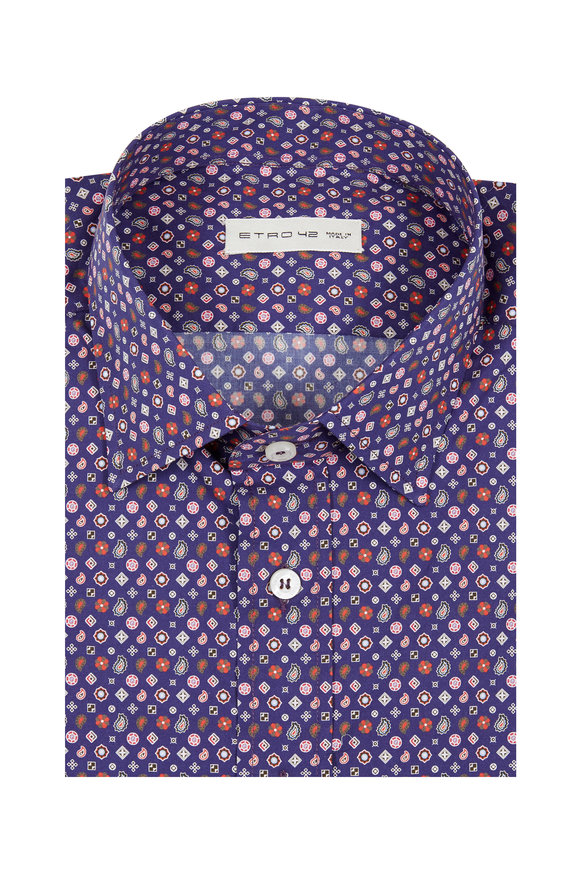 Etro Multicolored Geometric Printed Sport Shirt