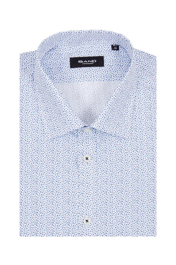 Sand Light Blue Geometric Print Regular Fit Sport Shirt