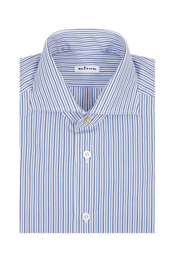 Kiton Navy Blue Striped Dress Shirt