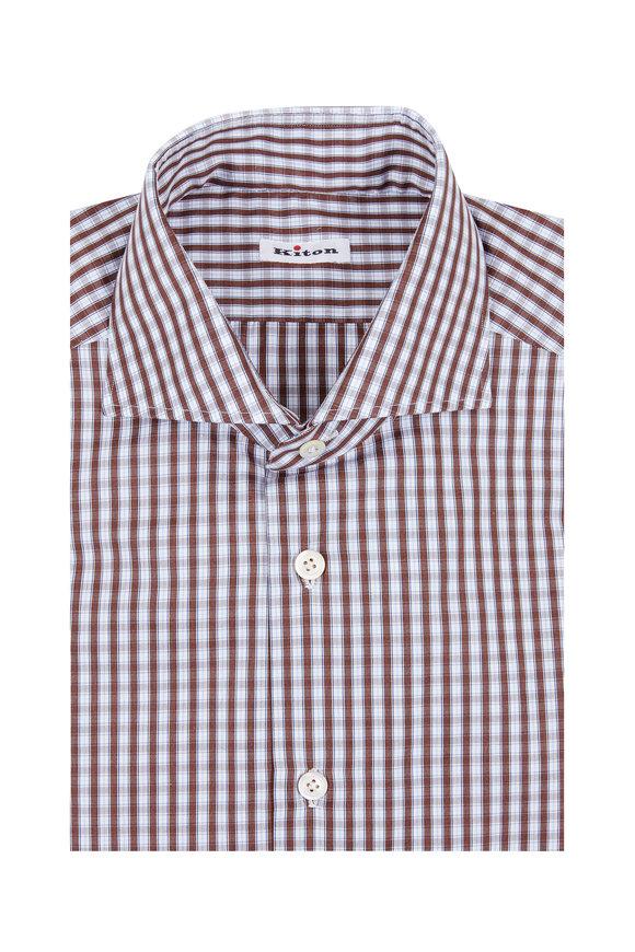 Kiton Blue & Brown Plaid Dress Shirt