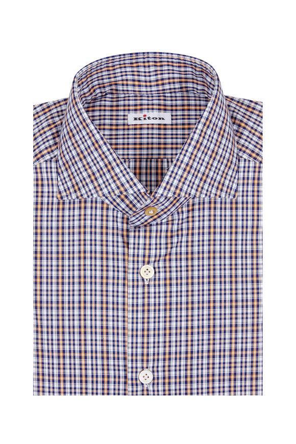 Kiton Navy Blue & Orange Plaid Sport Shirt