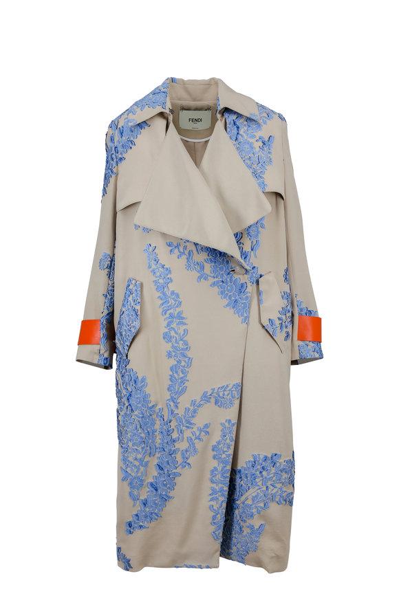 Fendi Beige Fil Coupé Silk Trench Coat