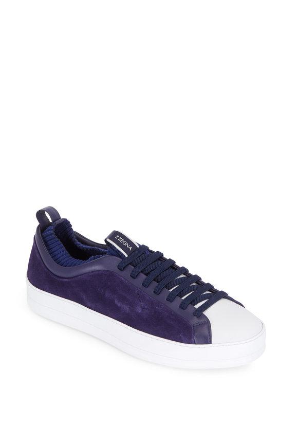 Ermenegildo Zegna Iacopo Imperial Blue Suede Techmerino Sneaker