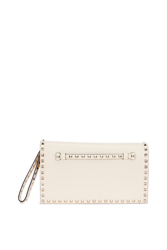 Valentino Rockstud Ivory Leather Clutch