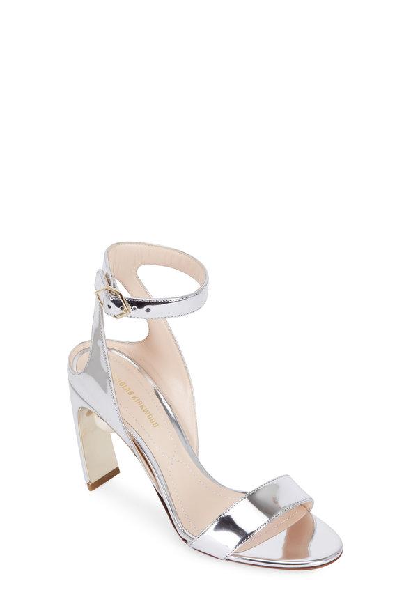 Nicholas Kirkwood Lola Silver Leather Pearl Sandal, 90mm