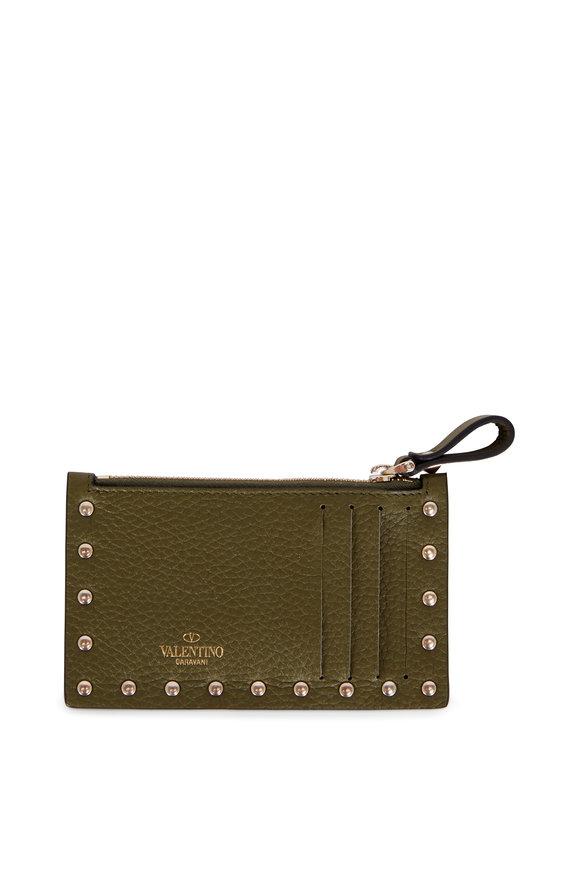 Valentino Garavani Rockstud Army Green Leather Card Case