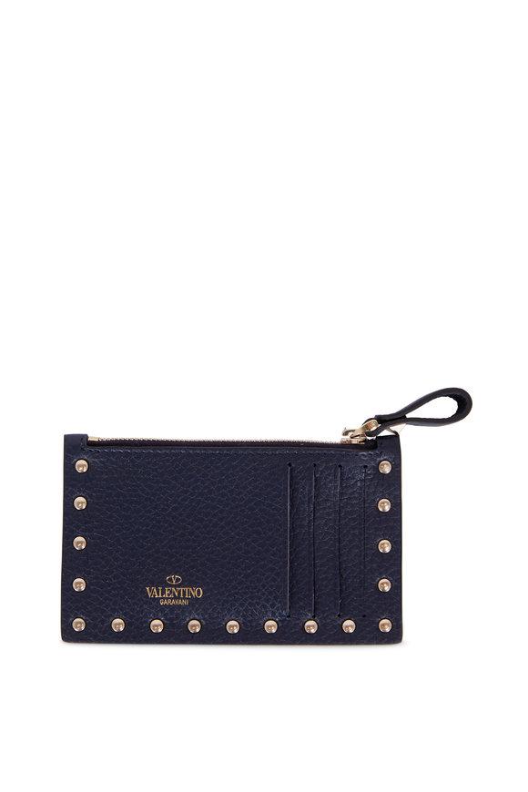 Valentino Rockstud Navy Blue Leather Card Case