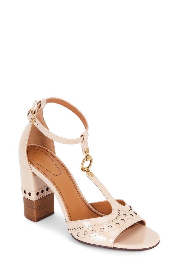 Chloé Mild Beige Brogue T-Strap Sandal, 95mm