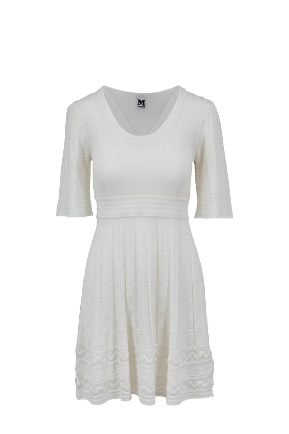 M Missoni White Ribbed Elbow Sleeve Dress