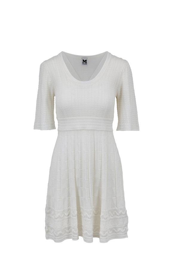M Missoni White Ribbed Elbow Sleeve Dress