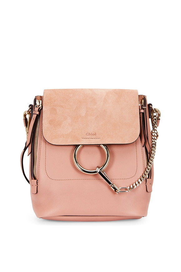 Chloé Faye Nougat Leather & Suede Small Backpack