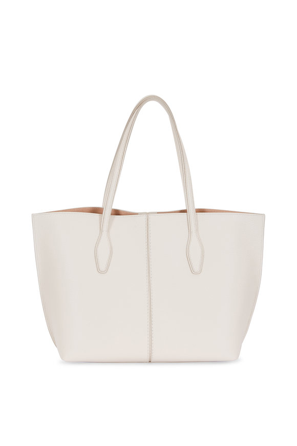 Tod's Joy Off-White Grained Leather Medium Tote