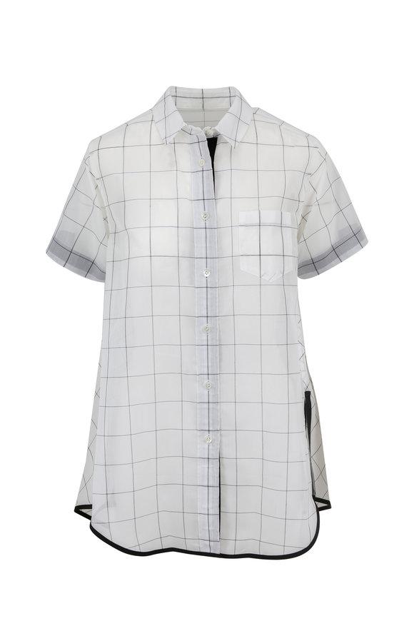 Sacai Off White Sheer Windowpane Short Sleeve Blouse