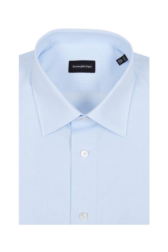 Ermenegildo Zegna Solid Light Blue Dress Shirt