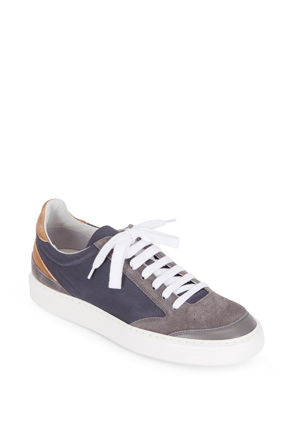 Brunello Cucinelli Gray Suede & Navy Nylon Low-Top Sneaker