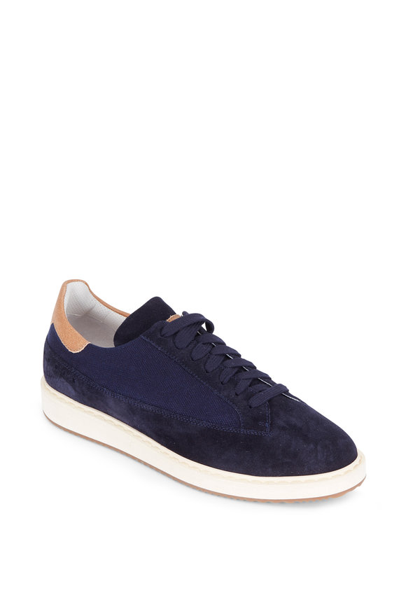Brunello Cucinelli Navy Blue Suede & Knit Low-Top Sneaker