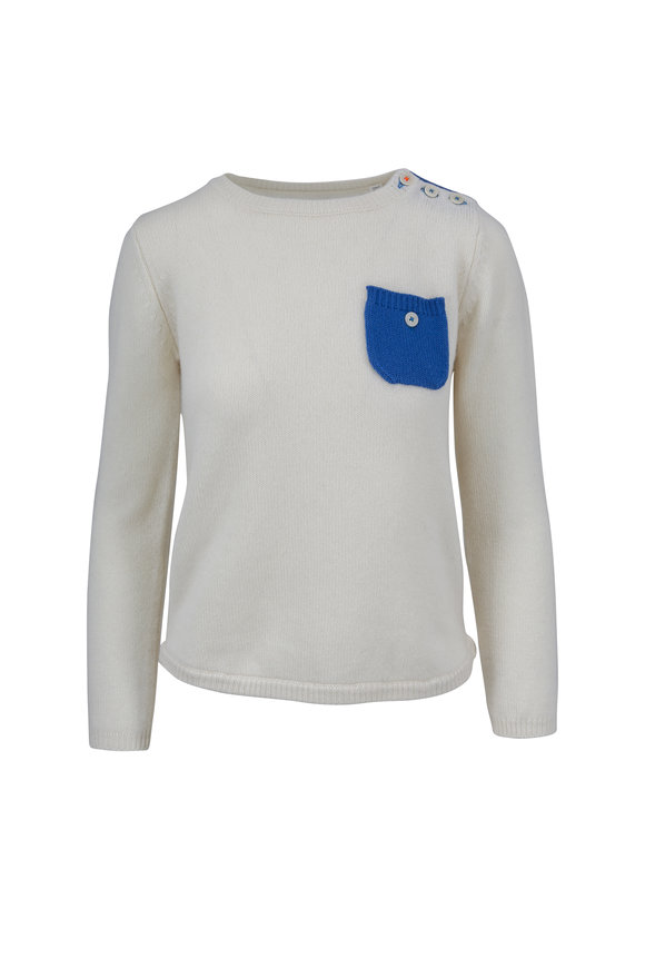 Chinti & Parker Ivory Cashmere Button Pocket Sweater
