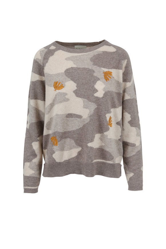 Jumper 1234 Beige & Grey Camo Bee Print Cashmere Sweater