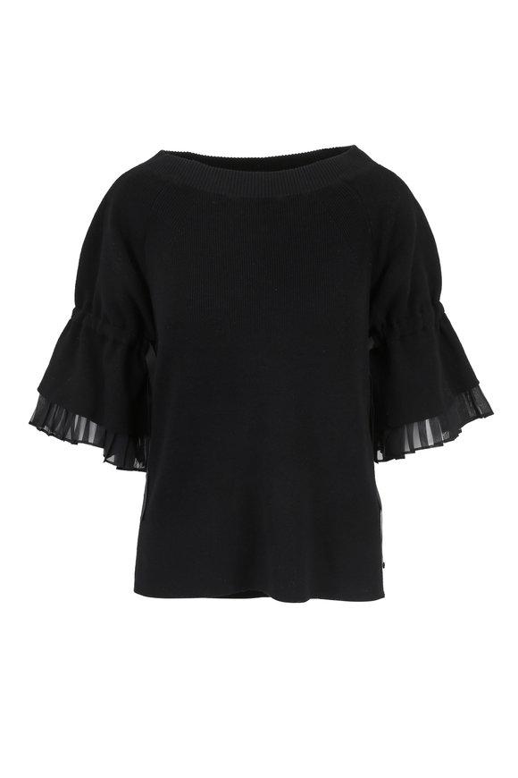 Sacai Black Tie-Sleeve Detail Sweater