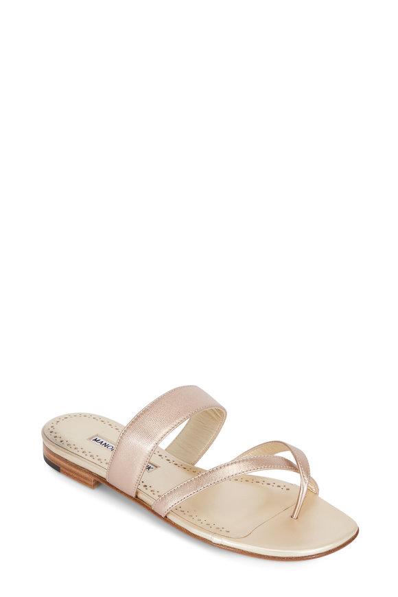 Manolo Blahnik Susa Rose Gold Toe-Strap Flat Sandal