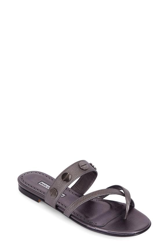 Manolo Blahnik Susa Anthracite Studded Toe-Strap Flat Sandal