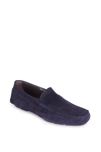 To Boot New York - Lewis Raffia Blue Brushed Suede Driver