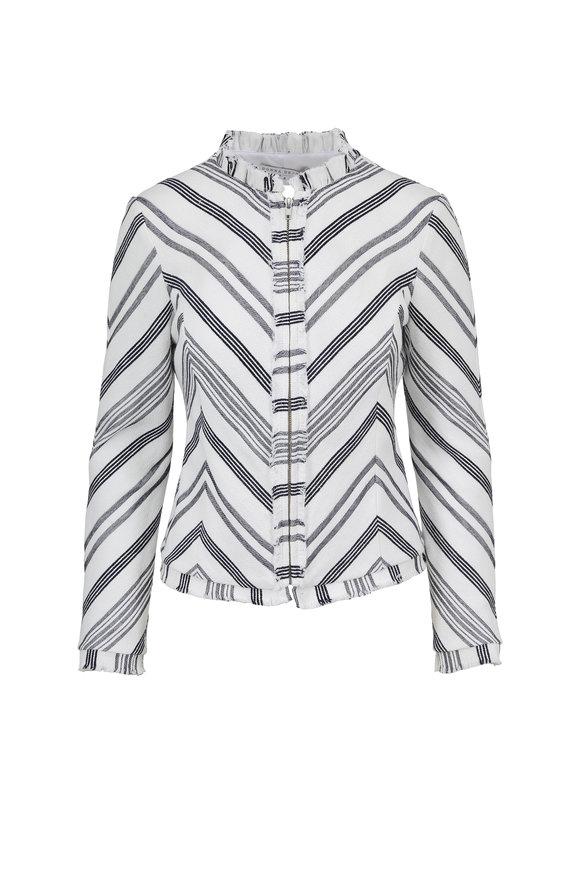Donna Degnan White & Blue Striped Zip Blazer