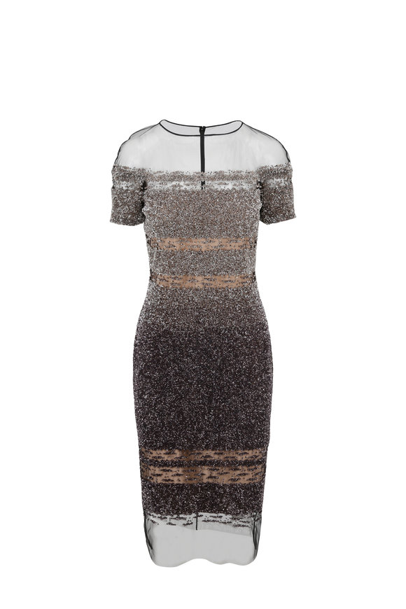 Pamella Roland Smoke & Bronze Ombrè Sequin Signature Dress