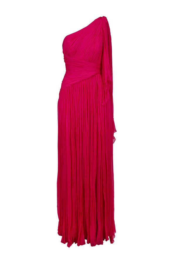 Pamella Roland Fuchsia Pleated Silk One Shoulder Gown
