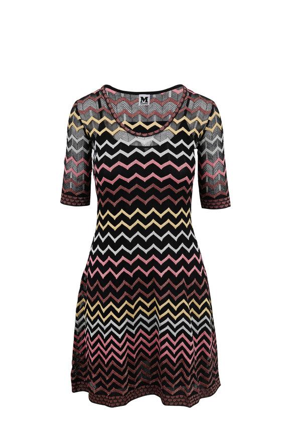 M Missoni Black Multicolor Zig-Zag Print Half Sleeve Dress