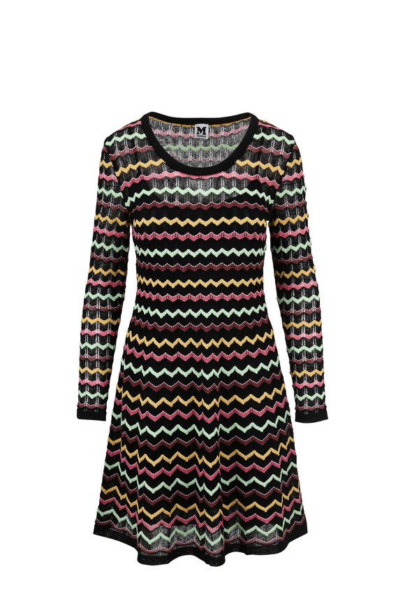 M Missoni Black Multicolor Zig-Zag Print Long Sleeve Dress