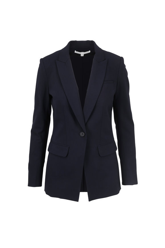 Veronica Beard Navy Blue Stretch Wool Classic Blazer