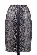 Lanvin - Black & White Mohair Reptile Skirt