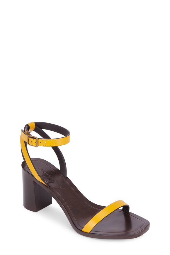 Saint Laurent Loulou Safran Leather Skinny Band Sandal, 70mm