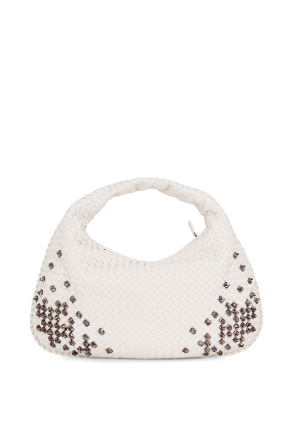 Bottega Veneta Mist Intrecciato Snakskin Knots Large Hobo Bag