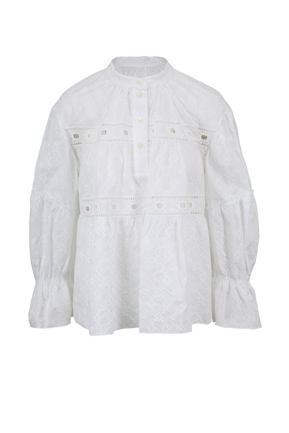 See by Chloé Nomad White Poplin Eyelet Detail Blouse