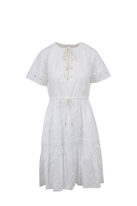 See by Chloé White Cotton Poplin Eyelet Detail Dress