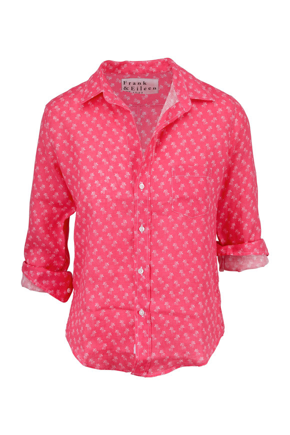 Frank & Eileen Barry Pink Palm Tree Print Button Down