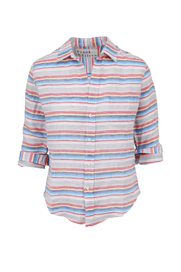 Frank & Eileen Barry Multicolor Horizontal Striped Button Down