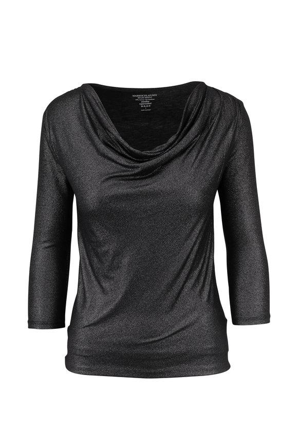 Majestic Black Metallic Jersey Drape Neck Top