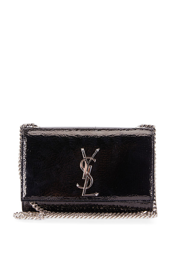 Saint Laurent Kate Black Crackled Leather Small Chain Bag