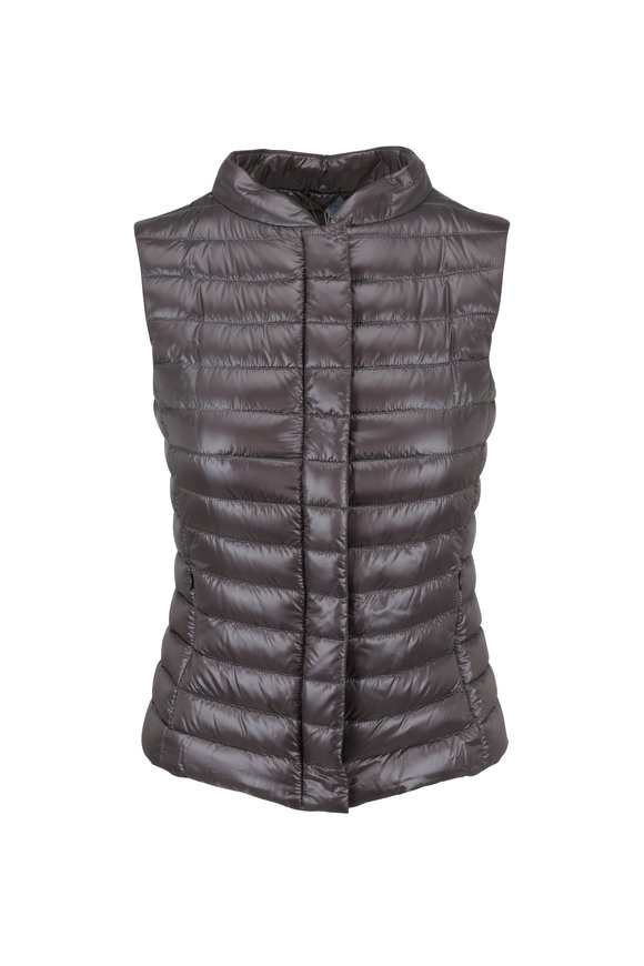 Herno Charcoal Gray Fitted Puffer Vest