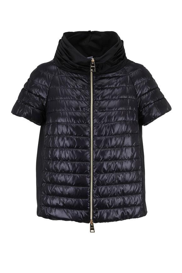 Herno Black Nylon & Taffeta Cap Sleeve Puffer Jacket