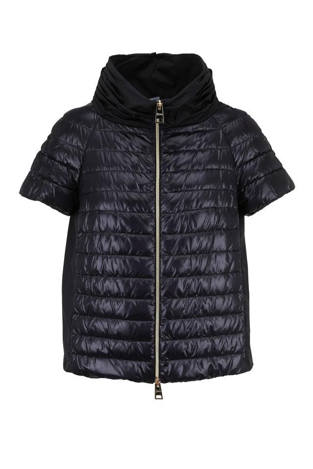 Black Nylon & Taffeta Cap Sleeve Puffer Jacket