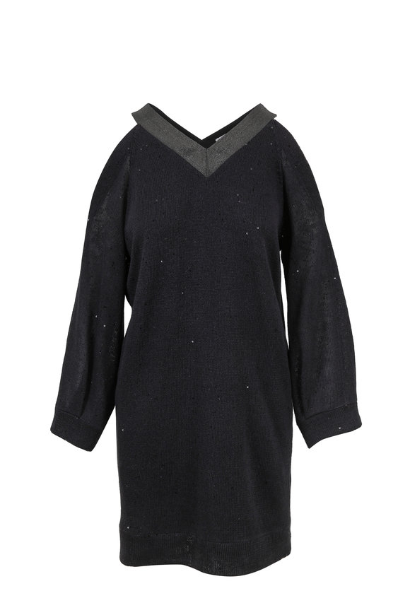 Brunello Cucinelli Onyx Linen & Silk Cold Shoulder Dress