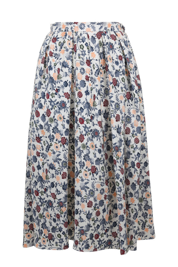 Adam Lippes Multicolor Floral Print Gathered Midi Silk Skirt