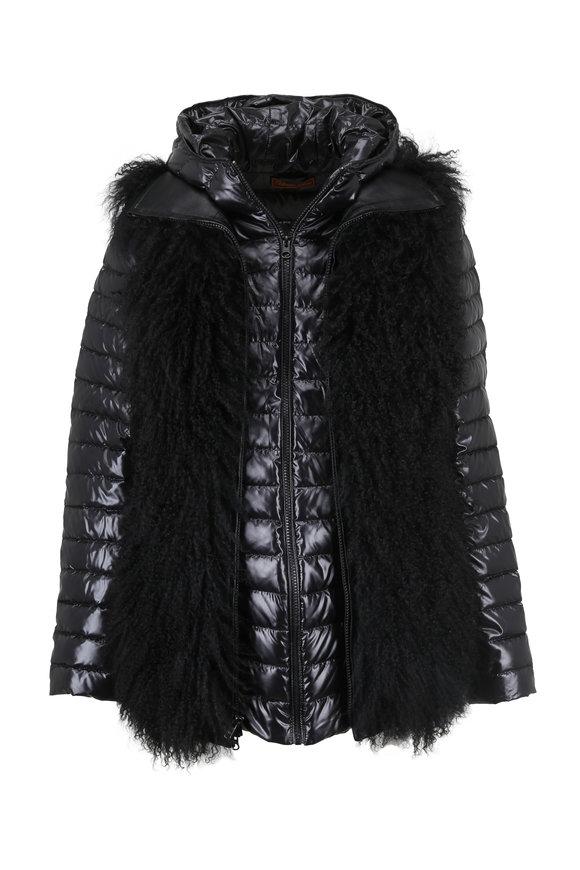 Viktoria Stass Black Two-In-One Lamb Vest Puffer