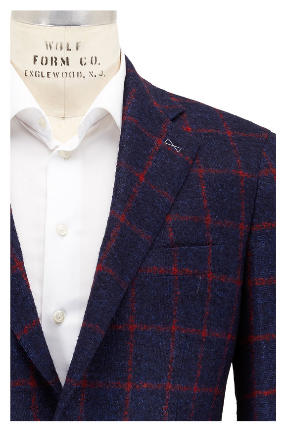 Atelier Munro Dark Blue & Red Windowpane Wool Bouclé Sportcoat